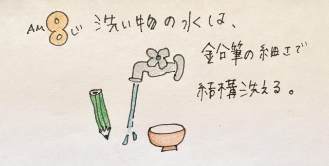 【節約生活24時】洗い物の水は鉛筆の細さで洗える